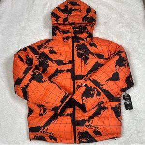 New Prps Goods & Co Puffer Jacket, Removable Hood, Orange/Black